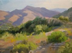 California landscape Eaton Canyon with San Gabriels oil painting, painting by artist Karen Winters