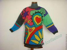 Купить Туника Ники де Сен-Фалль, ручное вязание - комбинированный, вязаная туника