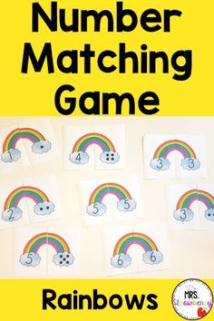 Practice matching numbers 1 - 10 with these colorful rainbows. Count the dots and match to the correct numeral. Students will improve their number recognition, subitizing and counting skills. Print and place in math centers. You can also laminate them to use over again. Number Matching, Matching Games, Phonics Activities, Color Activities, Number Recognition Activities, Kindergarten Colors, Subitizing, Primary Resources, Australian Curriculum