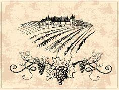 Download Vineyard and castle stock vector. Image of france, sketch - 13024729