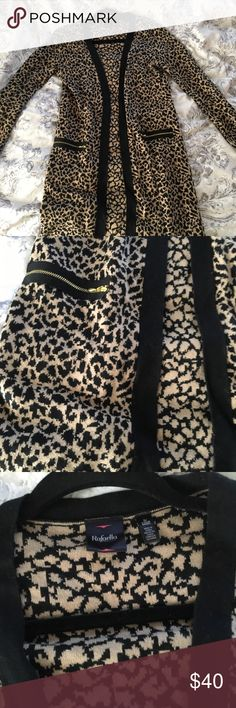 Leopard Cardigan Perfect, like new condition! I love this sweater but selling because I hardly wear it. Fits like an XS. Adorable zippers on sleeves and pockets. Very nice quality and very warm Rafaella Sweaters Cardigans