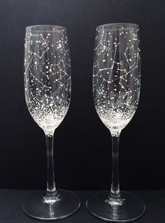 Set of 2 Handpainted Star Constellation Champagne by BallouSky