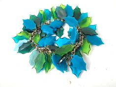 green BLUE lucite leafy unsigned Miriam Haskell by vintagejewels4u, $49.00