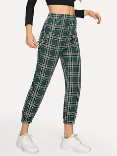 Shop Tartan Elastic Waist Pants With Chain at ROMWE, discover more fashion styles online. Stylish Outfits, Cool Outfits, Fashion Outfits, Patterned Pants Outfit, Straight Trousers, Elastic Waist Pants, Pants Pattern, My Outfit, Preppy