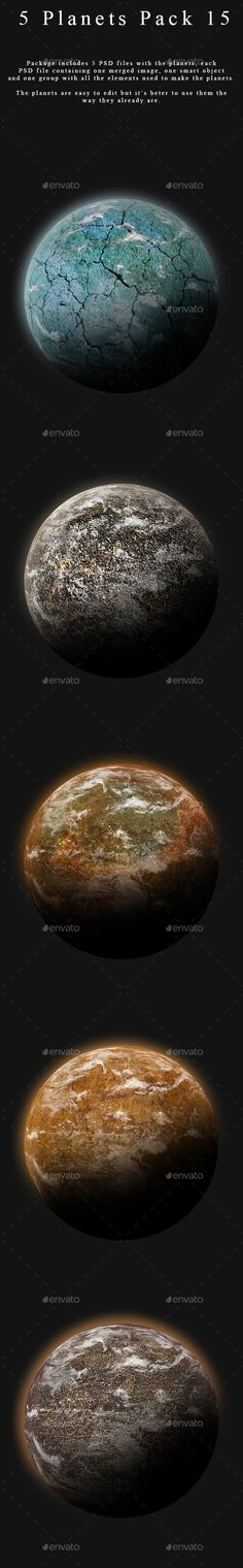 Package containing 5 different planets made in Photoshop at a resolution of 2000x2000px.  You can buy this package here: https://graphicriver.net/item/5-planets-pack-15/17185228