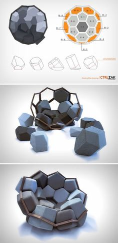 No. That isn't a Pokémon. It's a chair; and a pretty fine one, that too. Inspired by quartz, and built using an intricate mathematical algorithm derived from the mineral's complex crystalline structure, the armchair comprises of a wooden frame and geometric cushions that you can arrange to make sure the chair feels comfortable.