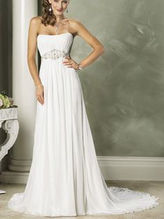 A-Line Princess Scoop Strapless Empire Chiffon Elastic Silk-like Satin Wedding Dress