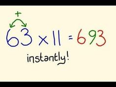 Fast Mental Math Tricks - Multiply any two digit by 11 instantly! There are many more cool tricks to learn. Fast Mental Math Tricks - Multiply any two digit by 11 instantly! There are many more cool tricks to learn. Math Help, Fun Math, Math Games, Math Activities, Learn Math, Mental Maths Games, Math Tutor, Math Skills, Math Lessons