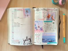 """journalsanctuary: """" July spread! Better late than never, right? :D I went for this pastel summer feel because it reminds me of the holiday I just came back from (the bottom photo is actually mine, from Croatia. I loved it there). """""""