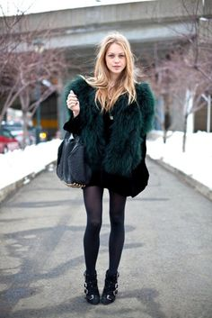 This is a fun, original way to do fur: a lush dark teal. Goes with so much, too! I wish I could dress like this in Northeast winters, haha.