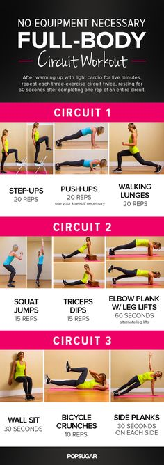 Printable Full-Body Circuit Workout — No Equipment Needed! I can do a couple of these while pregnant