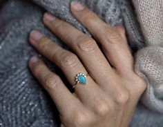 Turquoise diamond ring. So feminine and elegant! 18K gold diamond prong engagement ring with beautiful genuine pear cut turquoise. IF YOU WANT A CUSTOM