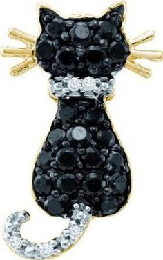 White Gold Womens Round Black Colored Diamond Kitty Cat Feline Animal Pendant Cttw Gemstone Carats total weightAll diamonds are natural and conflict-free in origin Round Colored Black ct. clarity H-I col Black Diamond Jewelry, White Gold Jewelry, Gold Jewellery, Yellow Pendants, Gold Pendants, Cut Cat, Cat Jewelry, Pendant Jewelry, Rose Jewelry