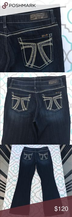 """💙👖Beautiful Seven7 Jeans👖💙32 13/14 30.5"""" Bling 💙👖Beautiful Seven7 Jeans👖💙 Size 14 (13/14). 30.5"""" Inseam. 11.25"""" Rise. 16.5"""" Across Back. Run a little small. SO Listed as a 12 (11/31). Please Compare Measurements with your own pants that fit. Awesome Stretch. Bling! Crystal 7's. Slimming Boot. Thick Stitching. Gorgeous Dark Blue Wash. 2 loose stitches at Crotch. Otherwise Excellent Used Condition. Love these!!! Seven7! Ask me any questions! Seven7 Jeans Boot Cut"""