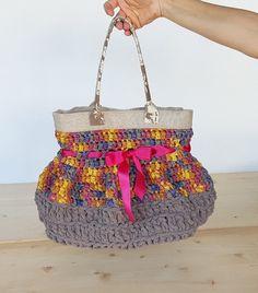 Rainbow bag colorful medium bag crochet by FlaviacAccessories