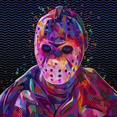 Created by Italian artist and graphic designer Alessandro Pautasso, 'Pop Portraits' is a fantastic ongoing series of digital collage portraits of celebrities, combining vivid colors,… Scary Movies, Horror Movies, Horror Artwork, South African Artists, Halloween Drawings, Jason Voorhees, Arte Horror, Weird Art, Cute Cartoon Wallpapers