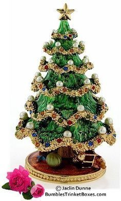 Trinket Box: Christmas Tree With Imitation Pearl Ornaments#CHRISTMAS##LİMOGES##TREE#