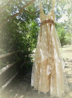 "MadeToOrder ..""Belle"" Rustic   Beach  Shabby French Champagne Tea Ivory Cream Vintage Inspired  Wedding Dress Altered Slip by petticoatpistol on Etsy https://www.etsy.com/listing/182745148/madetoorder-belle-rustic-beach-shabby"