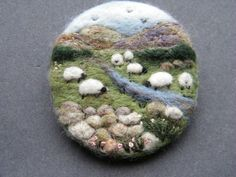 Hand Made Needle Felted Brooch/Gift The Upland Stream by Tracey Dunn: