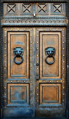 Wood doors with lion head knockers. Vintage Doors, Antique Doors, Entrance Doors, Doorway, Medieval Door, Door Knobs And Knockers, Wooden Gates, Old Wooden Doors, Cool Doors