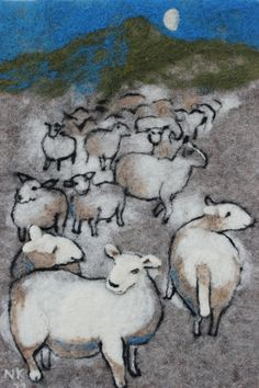 """Sheep in the night"". Felted wall hanging, wet and dry needle felted. Nerijus Sheep in the night. Felted wall hanging, wet and dry needle felted. Sheep Crafts, Felt Wall Hanging, Sheep Art, Felt Pictures, Wool Art, Felt Art, Felt Animals, Fabric Art, Textile Art"