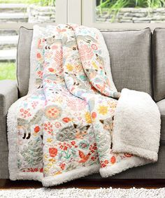 Look what I found on #zulily! Gray & Pink Pixie Fox Sherpa Lined Quilted Throw #zulilyfinds