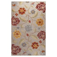 Anchor your den or living room decor with this hand-tufted wool rug, featuring a floral motif over a slate-hued backdrop.   Product...