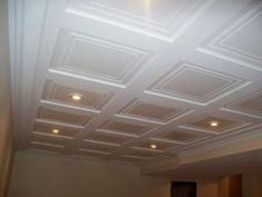 Basement ceiling ideas include paint, paneling, drop ceilings, and even fabric. HouseLogic has ideas, tips and costs for finishing your basement ceiling. Drop Ceiling Tiles, Basement Ceiling Options, Remodel, Home Remodeling, Basement Makeover, Basement Ceiling Ideas Cheap, Basement Flooring, Basement Decor, Dropped Ceiling
