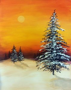 Sunset and snow covered trees, beginner canvas painting idea.