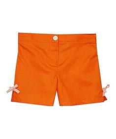 Look at this #zulilyfind! Orange Bow Shorts - Toddler & Girls #zulilyfinds