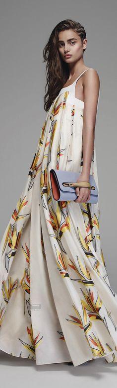 Fendi Pre Spring 2016 collection. White maxi dress. women fashion outfit clothing style apparel @roressclothes closet ideas
