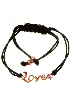 """Rose Gold Plated Silver & Cord """"Love"""" Bracelet"""