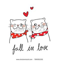 Vector illustration character design couple cat fall in love and little heart for valentine day. Doodle Cartoon, Cartoon Drawings, Easy Drawings, Valentines Day Cat, Valentines Day Drawing, Doodles, Merry Christmas Ya Filthy Animal, Jolie Photo, Cat Drawing
