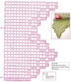 Filet Crochet, Crochet Lace Edging, Crochet Borders, Crochet Chart, Crochet Doilies, Crochet Stitches, Easy Crochet, Crochet Patterns, Crochet Edgings