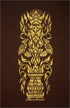 Thai traditional stencil art of Flower pot