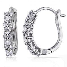 Diamond Huggies, Hoop Earrings for Women 14k White Gold 0.50ct - Allurez.com