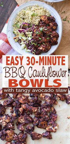 Easy BBQ Cauliflower Bites Bowl with Tangy Avocado Slaw Baked BBQ cauliflower bites paired with tangy avocado slaw and cilantro lime quinoa for the perfect flavorful dinner for the whole family. Ready in 30 minutes! Source by veggiesdontbite Vegan Dinner Recipes, Vegan Recipes Easy, Whole Food Recipes, Vegetarian Recipes, Cooking Recipes, Vegan Meals, Family Recipes, Grilling Recipes, Bbq Cauliflower