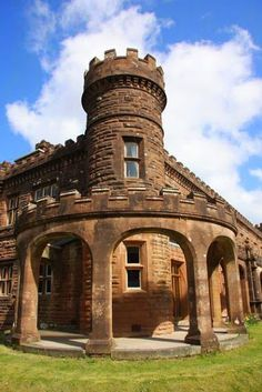 Kinloch Castle, Isle of Rum was constructed in 1897 using red sandstone imported from Coire Quarry on the Isle of Arran and took three years to build.  Over 300 craftsmen of specialist trades were employed including: stonemasons, carpenters, woodcarvers, stained glass makers and the most unique, was an electrician as it was the first private residence in Scotland to have electricity, with a dam constructed on the Coire Dubh burn for hydro generation.