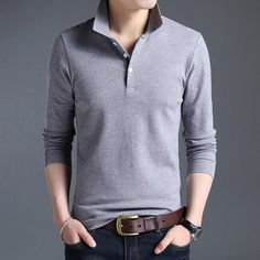 7ff3e2d8f Men Polo Shirt Solid Color Slim Fit Polo Men Long Sleeve Cotton Casual