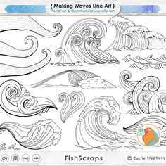 Making Waves Digital Stamps, PNG Line Art + Photoshop Brushes, Water Clip Art, Coastal ClipArt, Ocean Images, Nautical Sea Life by FishScraps on Etsy