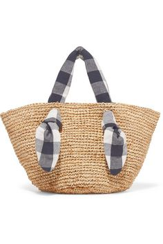 Loeffler Randall - Hazel Raffia And Gingham Canvas Tote - Beige Natural Accessories, Veja Sneakers, Black And White Canvas, Basket Bag, We Fall In Love, Cosmetic Pouch, Gingham, Straw Bag, Shopping Bag