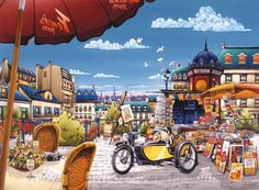 Sidecar en Paris - Anatolian Puzzle de moto con sidecar en París  Dimensiones 48x66 cm  1000 Piezas Encuéntralo en Puzzlemania.net