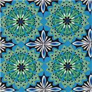 blue flower ornaments corduroy fabric by Robert Kaufman USA