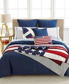 "Tommy+Hilfiger+""Denim""+Bedding+Collection Love the quilt! Daybed Sets, Twin Comforter Sets, Duvet Sets, Duvet Cover Sets, Texas Bedroom, Cowboy Bedroom, Hilfiger Denim, Tommy Hilfiger, Denim Comforter"