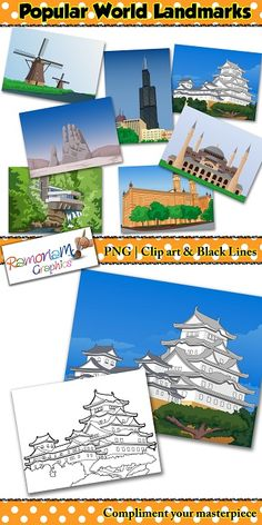 World Landmarks Background Clip art set contains scenes of some of the most amazing structures and places from around the World. Perfect to use for teaching kids about the beautiful world around us.  #ramonam #ramonamgraphics #kidsapproved #landmarks #aroundtheworld #aroundtheworldclipart