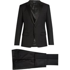 Dolce & Gabbana Peak-lapel wool and silk-blend tuxedo (€2.620) ❤ liked on Polyvore featuring men's fashion, men's clothing, men's suits, black, mens 3 button suits, mens striped suit, mens tuxedo suits, dolce gabbana mens clothing and mens peak lapel suit