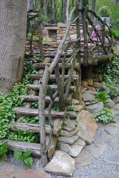 found wood fence and stair case