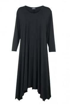 Shop Black Asymmetric Dress AKH Plus size from idaretobe UK online stockist. Asymmetrical Dress, Plus Size Fashion, Short Sleeve Dresses, Autumn, Winter, Fabric, House, Shopping, Clothes