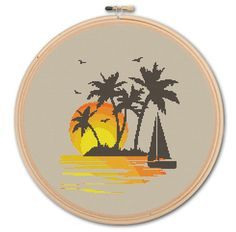 Tropical Paradise  Counted Cross stitch  Pattern by WonderNeedle, $3.99