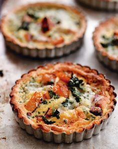 """Pumpkin Tarts with Spinach and Gorgonzola from """"Roast Figs, Sugar Snow"""" by Diana Henry"""